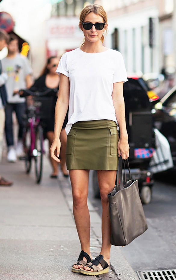 summer to fall white tee army green skirt leather smini skirt slides sandals via stockholm street style