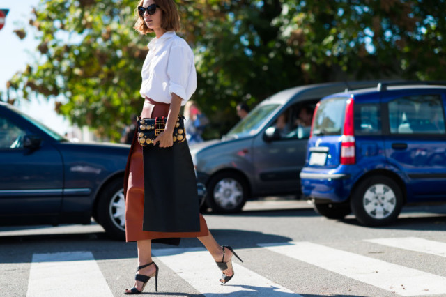 tan leather skirt-fall work outfit-whtie oxford-milan fashion week street style-via elle.com