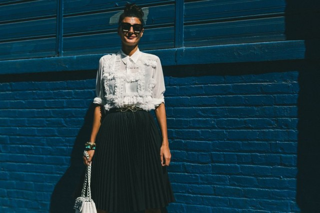 textured top-black and white-pleated black skirts-collared shirt-fall work outfit-nyfw-fall outfits-via-racked