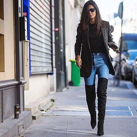 thigh high boots over the knee boots french style jacket jeans weekend work fall via theyallhateus.com