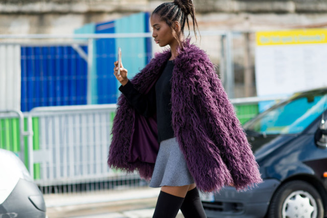 thihg high boots grey and black grey mini skirt furry jacket colored fur purple -paris fashion week street style fall fashion