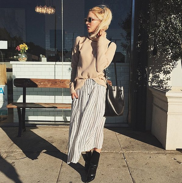 striped skirt, transition-summer to fall - culottes - via instagram peaceloveshea