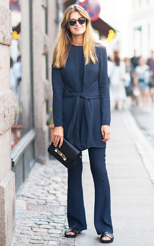 tunic flares monchormatic black and navy sumemr to fall stockholm street style