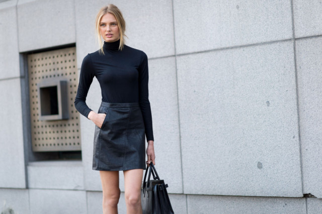 turtleneck black leather mini skirt-milan fashion week