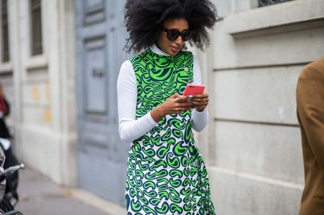 turtleneck under dress-graphic fall prints-neon-paisley-milan fashion week www