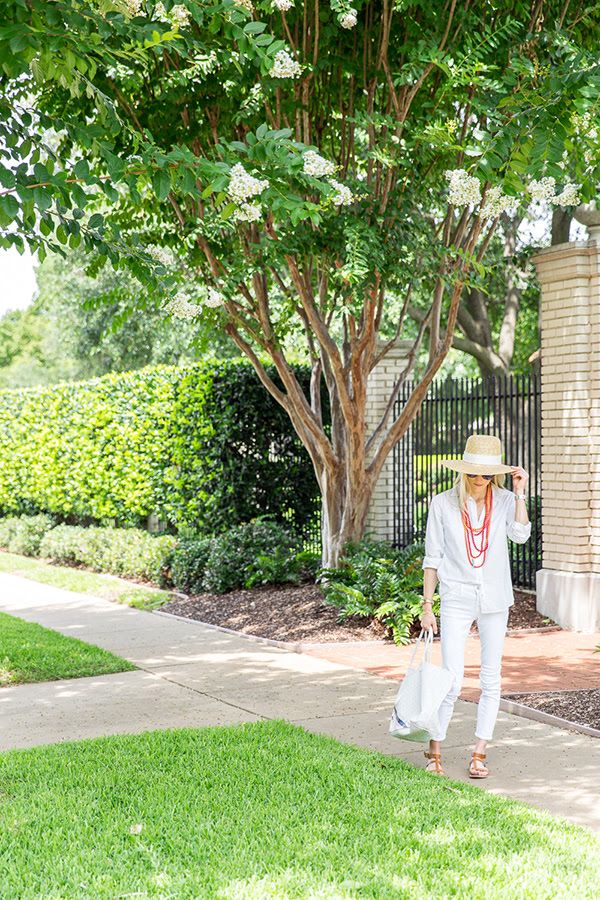 white jeans, straw hat, all white, summer weekend party bbq beach hamptons outfit, luella & june