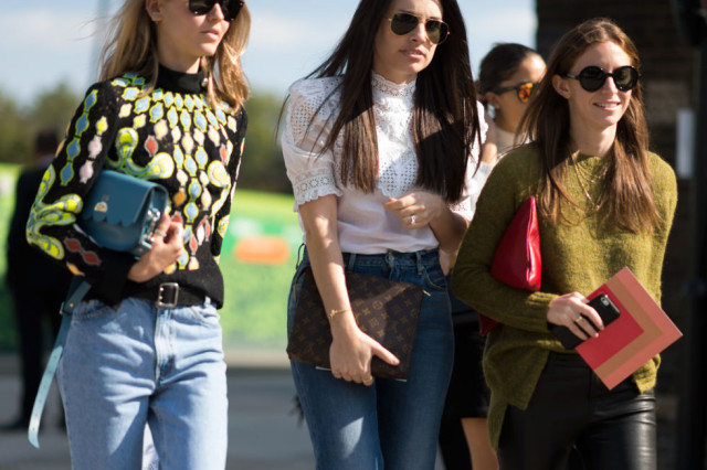 victorian blouse-mock neck sweater-high neck-jeans-fall prints-tops-lfw street style-elle.com