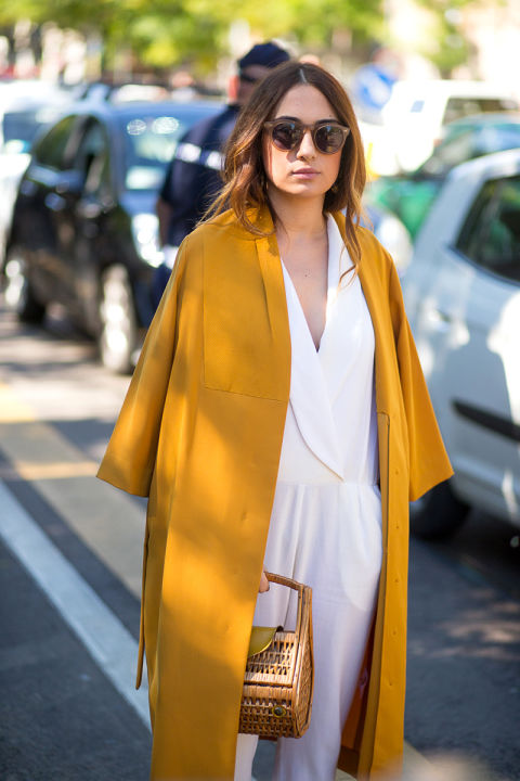 white jumpsuit-fall whites-mustard gold coat-fall coats-milan fashion week street style-via hbz
