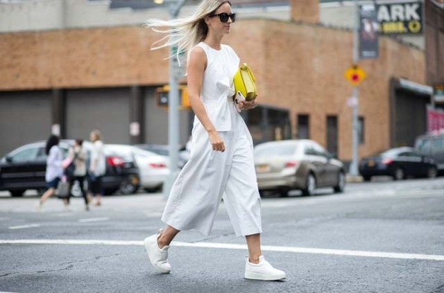 white-jupmsuit-white after labor day-white culotte jumpsuit-cropped jumpsuit-white sneakers-all white-transitional dressing -nyfw-via-the styleograph