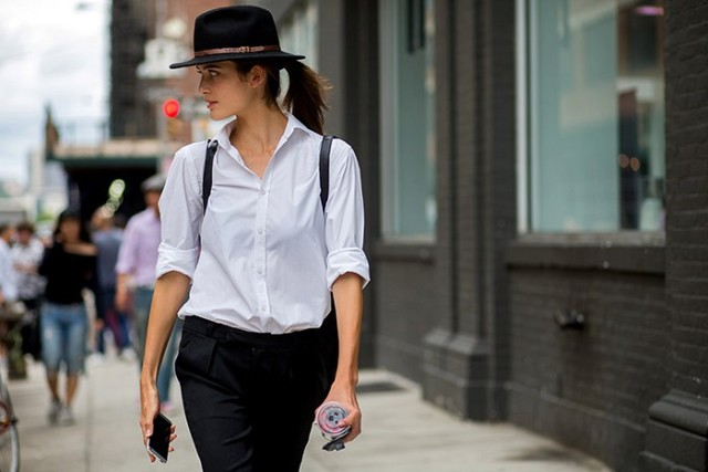 white oxford shirt-trousers-fall hat wide brim hat-the styleograph