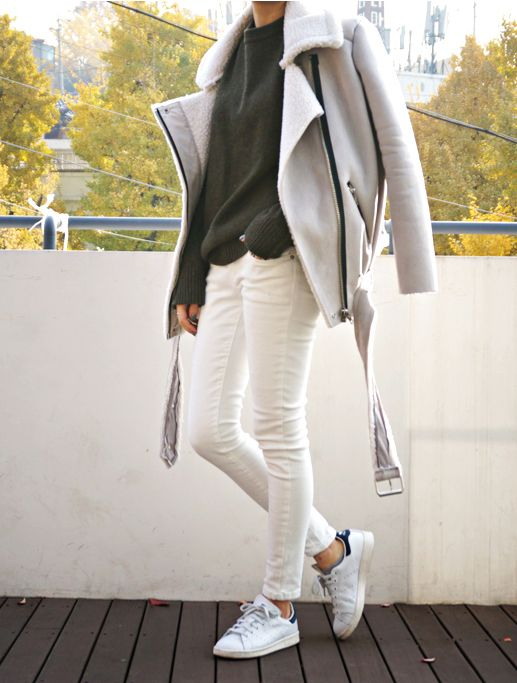 white jeans, neutral greige moto jacket, army green sweater, adidas sneakers fall weekend outfit, fall layers, jacket on shoulder, shearling moto jacket