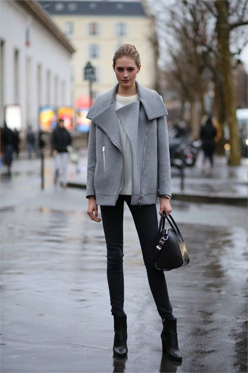 grey moto jacket, black skinnies, white sweater, wedge booties, street style model off duty style fall neutrals