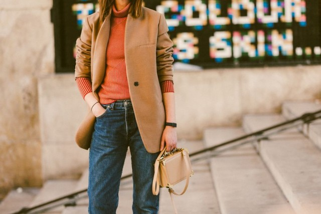 paris fashion week street style fall outfits ropped jeans camel blaer turtleneck burnt orange