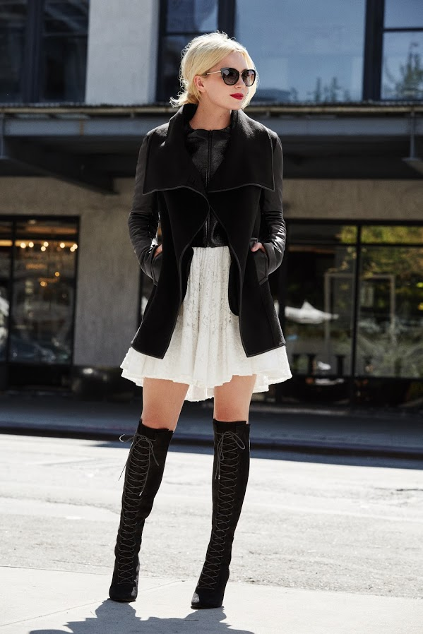lace up over the knee thigh high boots hankerchief hemline vest, black and white, fall layers