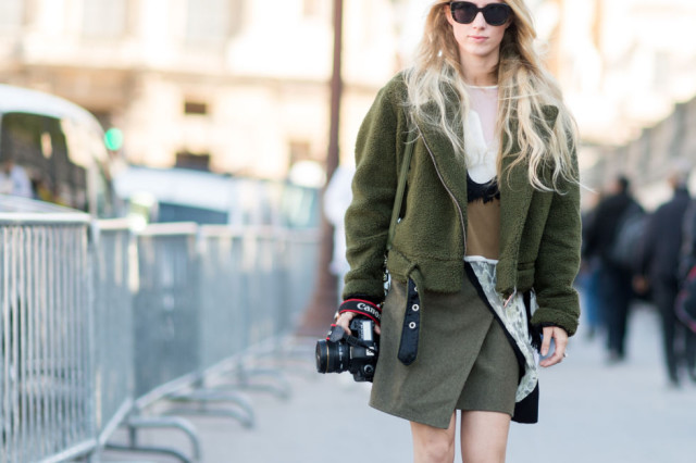 army green wrap skirt mini skirt lace sheer shearling army green moot jacket army jacket fall colors paris fashion week street style fall outfits elle