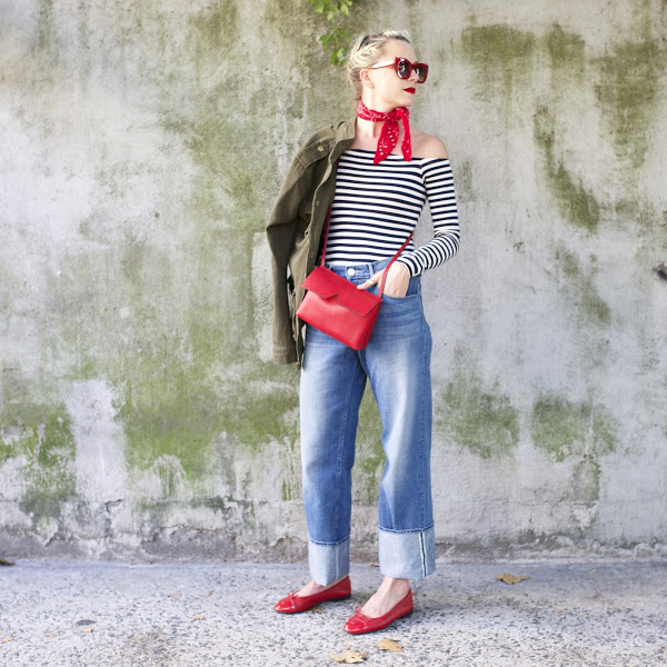 army jacket off the shoulder stripes striped shirt major cuffs red ballet flats-red bag bandana