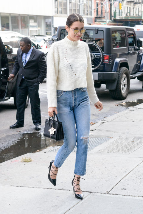 b3lla hadid cropped sweater lace up heels mockneck sweater funnel neck mom jeans cropped jeans high waisted jeans crop top sweater cropped sweater turtleneck sweater getty