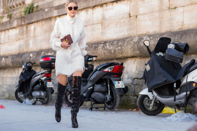 black and white-oxford shirt black over the knee boots black and whtie-paris fashion week street style fall outfits elle