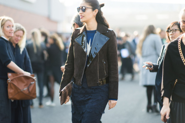 caroline issa moto jacket patent leather texture fringe paris fashion week street style elle
