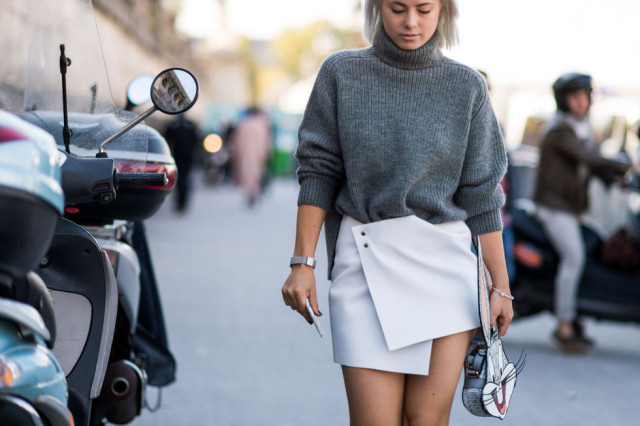 sweaters and skirts, fall winter outfit, white wrap skirt, grey turtleneck sweater, mini skirt, party going out night out outfit