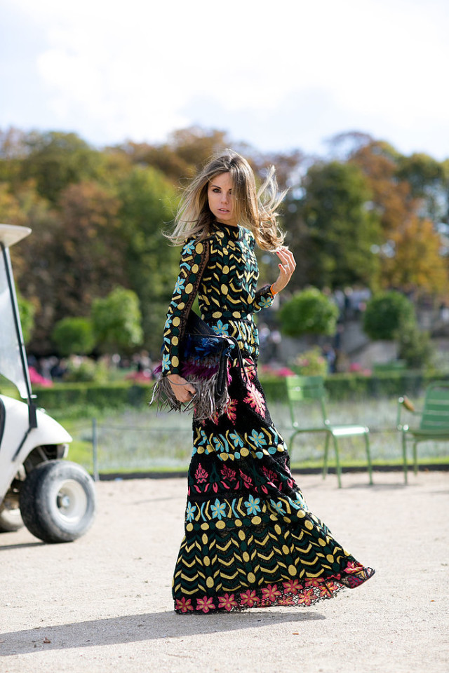 crazy bold prints fall prints boho maxi dresss mixed prints erica pelosini Paris-Fashion-Week-Day-8