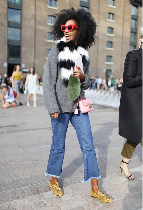 cropped flares furry scarf python loafers www