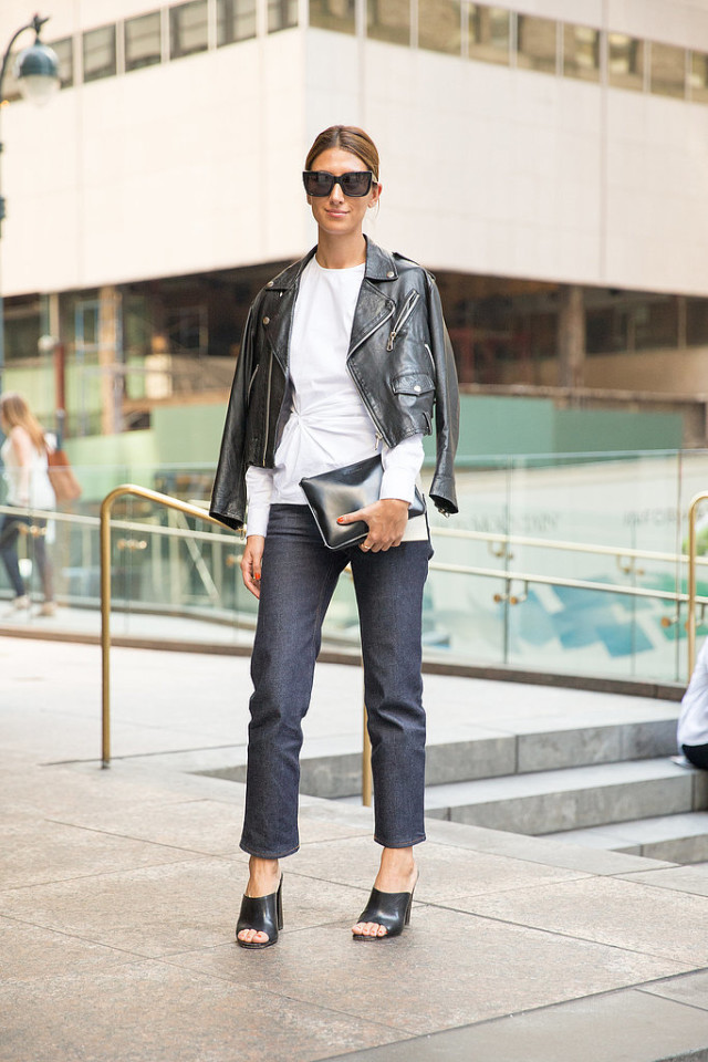 cropped jeans mules tie front top black leather moto jacket fall outfits weekend work nyfw