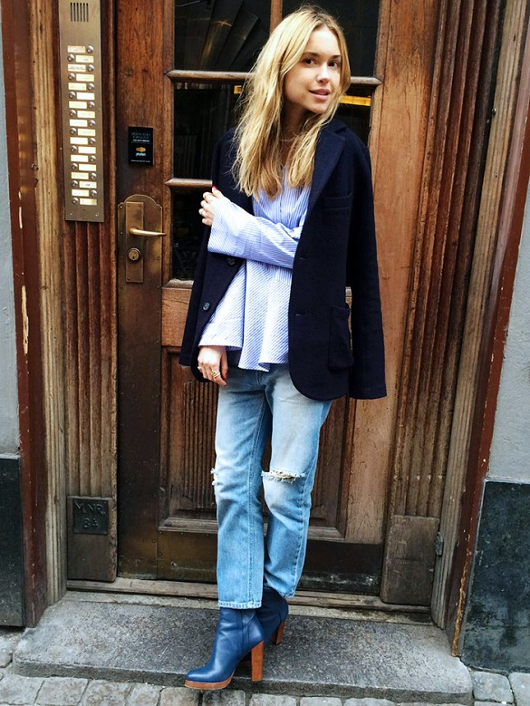 cropped mom jeans blue stack heel booties bell sleeves peplum top blazer jacket on shoulders