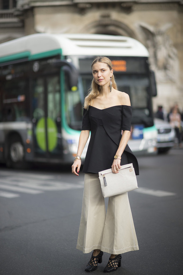 culottes cropped flares off the shoulder caped going out night out pernille Paris-Fashion-Week-Day-7