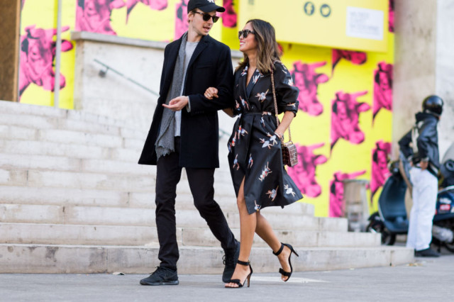 dark florals fall florals printed wrap dress fall dress dress as jacket coat dress black sandals aimee song paris fashion week street style fall outfits elle