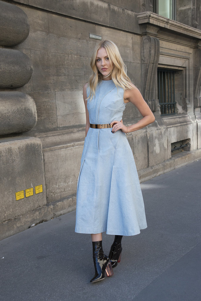 denim dress mod booties bleted shea marieParis-Fashion-Week-Day-4