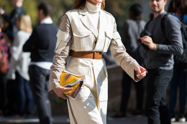 turtleneck, belted jacket