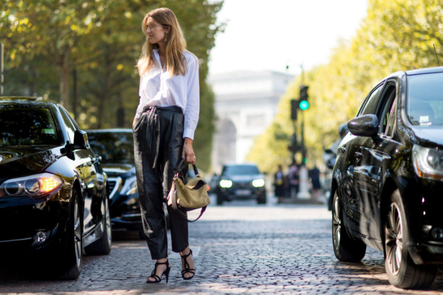 paris fashion week street style fall outfits black and white black leather joggers high waisted trousers white oxford shirt fall work outfit