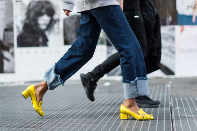 cuffed jeans, yellow tassle heeled loafers