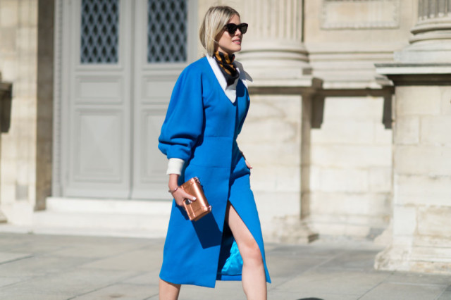 paris fashion week street style fall outfits scarf blue coat puff sleeves coat dress jacket dress white oxford slit