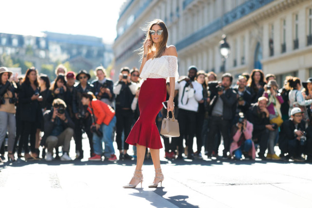 ed peplum midi skirt off the shoudler top studded heels red skirt going out night out paris fashion week street style elle