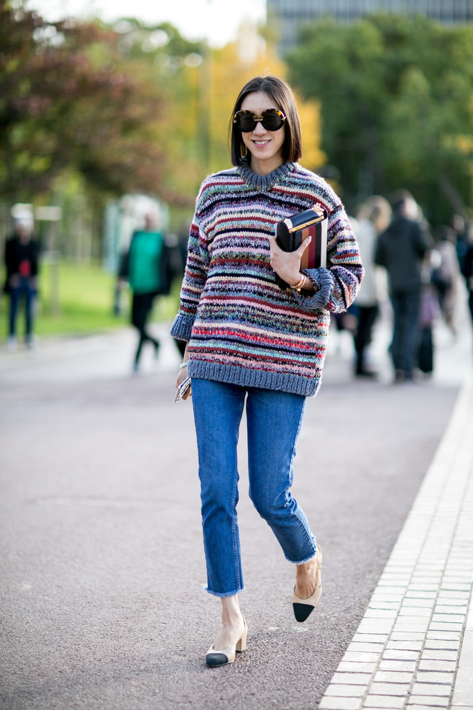 eva chen marled striped sweater cropped jeans two tone chanel heels Paris-Fashion-Week-Street-Style-Spring-2016