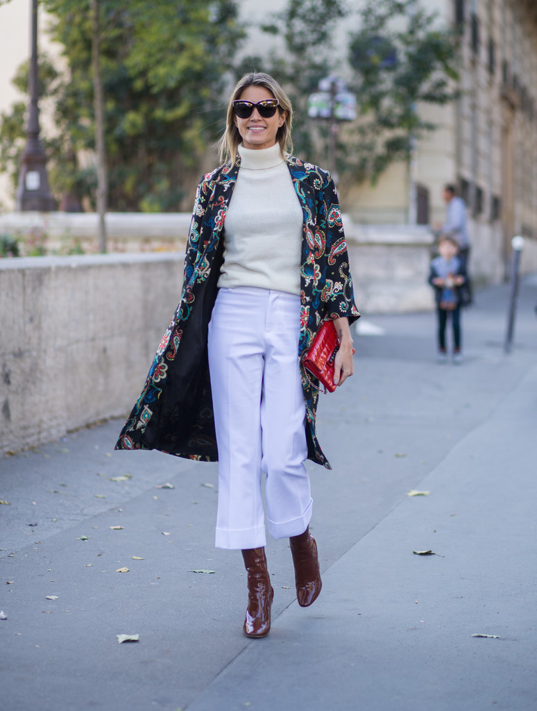 fall coat paisley cropped pants cuffed ankle boots with cropped pants statement jacket printed jacket fall jacket turtleneck helena boren burgundy boots bordenParis-Fashion-Week-Day-2-1