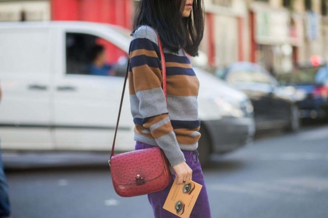 fall colors fall stripes striped sweater purple plum suede skirt bottom sfall colors colorblocking-paris fashion week street style the styleograph