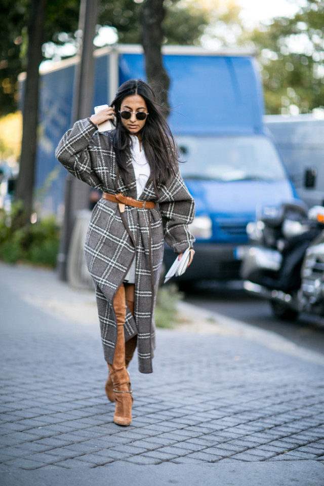 fall plaid poncho cape coat belted suede thigh high boots Paris-Fashion-Week-Day-1