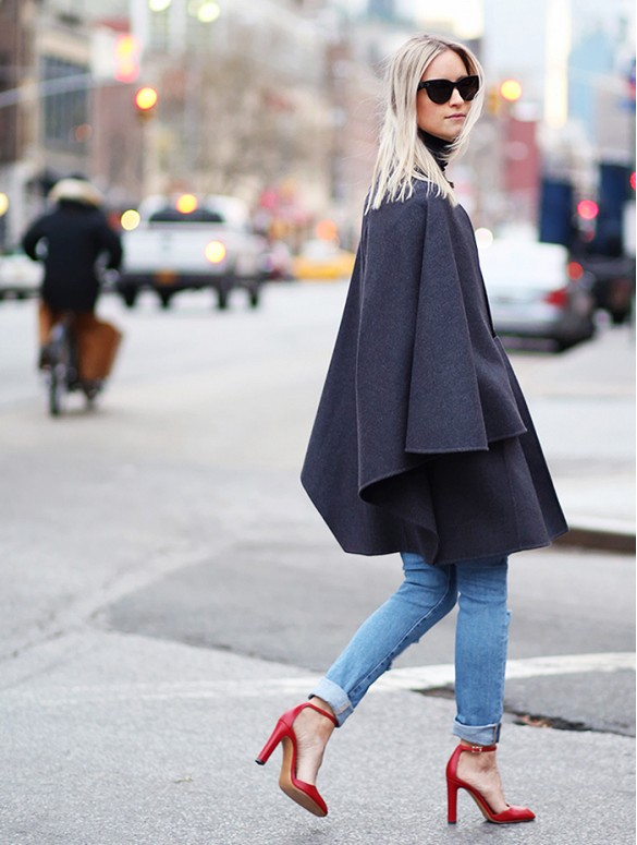 how to roll your jeans, denim styling, jeans, fall ponchos cape rolled jeans red heels ankle strap heels the fashion guitar fall outfits