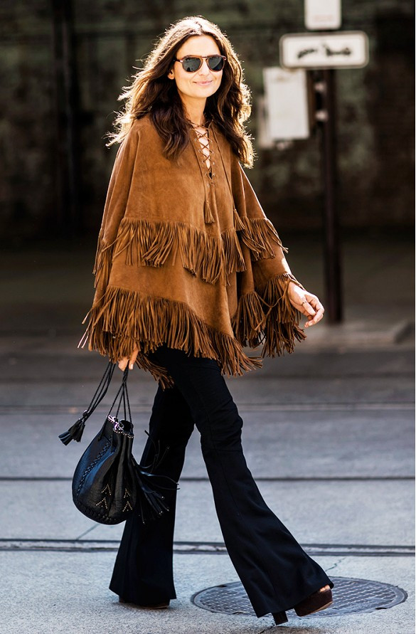 fringe suede poncho flares platform bucket bag fall boho trend-a love is blind