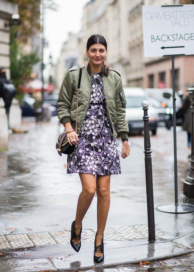 green army green baseball jacket printed dress fall prints work outfit getty Paris-Fashion-Week-Day-7