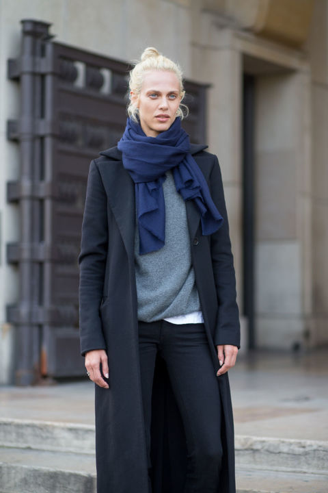 navy black grey blazer fall neutrals paris fashion weeek street style scarf