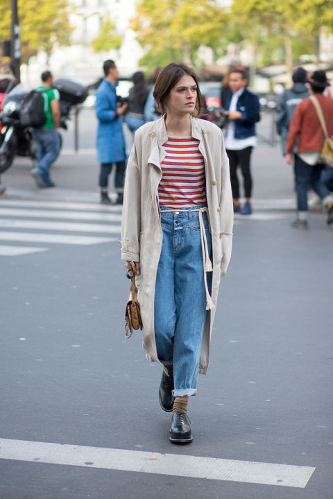 paris fashion week street style duster coat trench coat stripes