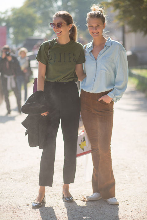 paris fashion week street style cords graphic tee black trousers chambray shirt