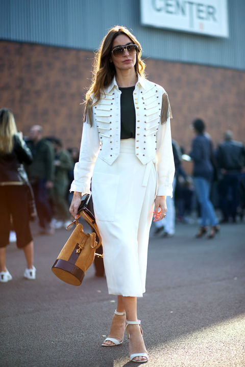paris fashion week street style military jacket white fringe wrap skirt