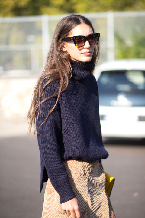 paris fashion week street style navy turtleneck chunky sweater