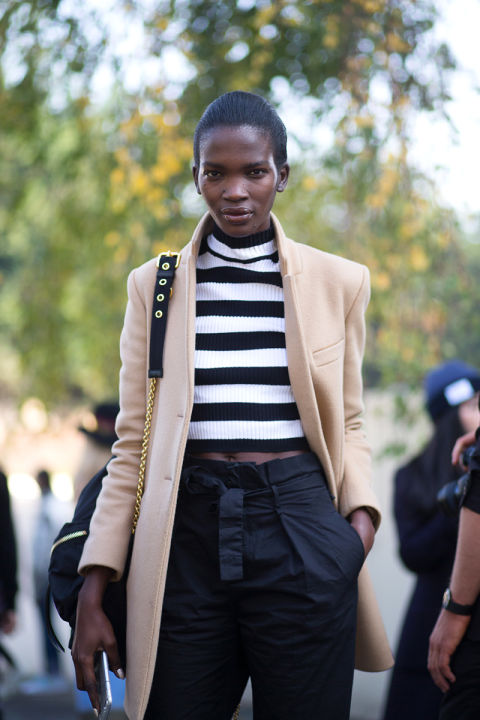 paris fashion week street style bold stripes crop top high waisted classic camel blazer