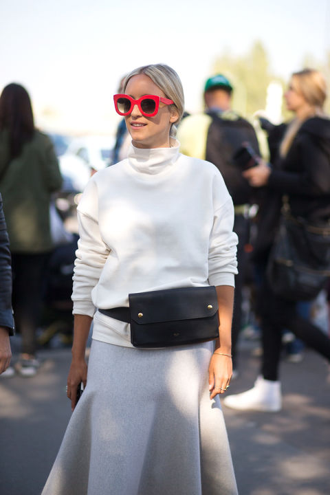 harpersbazaar.paris fashion week street style fanny pack midi skirt fluted skirt peplum skirt mock neck funnel neck turtleneck